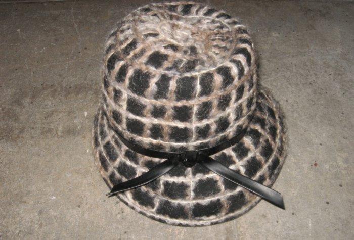 Vintage Hat, Felt Base with Knit Details in Black and White Hat, Black Leather Trim Detail