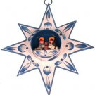 Hand Painted Blue Star with Nativity Scene Figures
