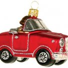 Hand Blown Glass Ornament, Just Married Couple in Car