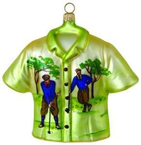 Hand Blown Glass Ornament, Collectors Vintage Golf Print Shirt