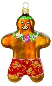 Hand Blown Glass Ornament, Beach Gingerbread Man
