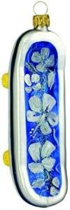 Hand Blown Glass Ornament, Skateboard Blue Hibiscus Print