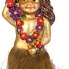 Hand Blown Glass Ornament, Hula Girl with Grass Skirt