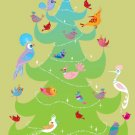 Christmas Tree with Birds, Holiday Card
