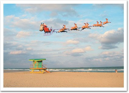 santa and sleigh over beach christmas card - Beach Christmas Cards
