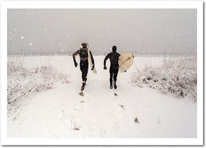 Surfers in the Snow Holiday Card