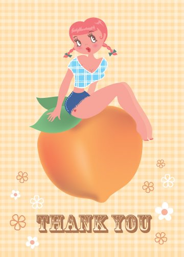 Cowgirl and Peach Thank You Card