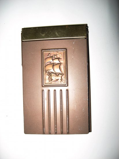 Vintage Tan Colored Metal Note Pad Holder with Embossed Ship