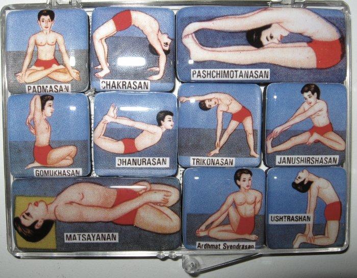 Set of Ten Yoga Pose Magnets