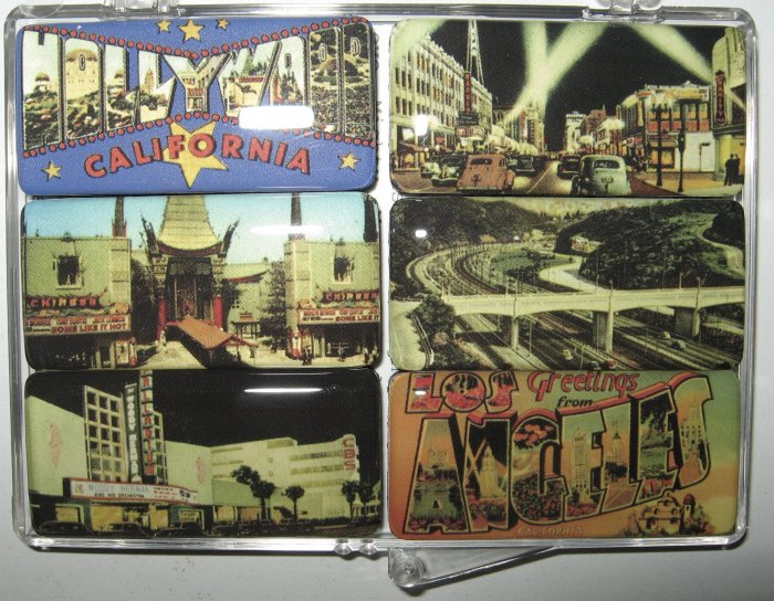 Set of Six Vintage Hollywood/California Magnets