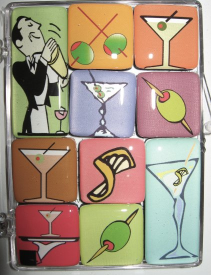Set of Ten Martini Magnets