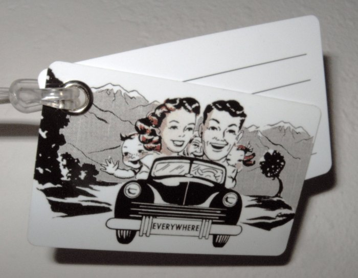 Double Sided Luggage Tag ~ Family in Car