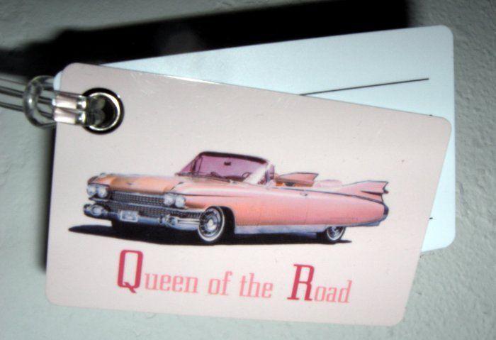 """Double Sided Luggage Tag ~ """"Queen of the Road"""" Car"""