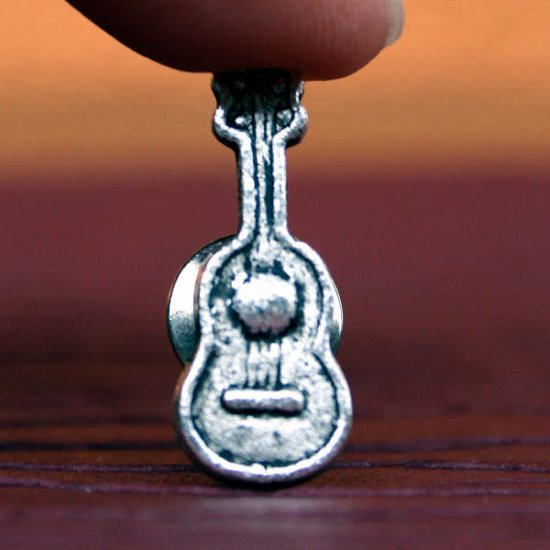 Silver Guitar Tie Tack, Hand Made