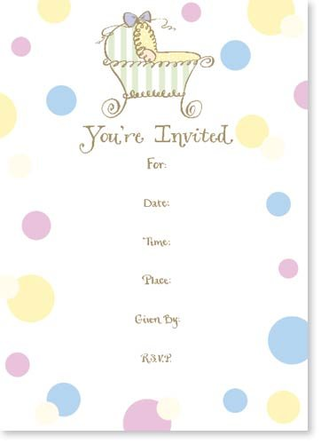 Ten Baby Shower Bassinet Invitations with Envelopes