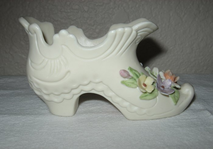 """""""Lefton"""" Antique Ivory Shoe, Decorated with Colorful Flowers"""