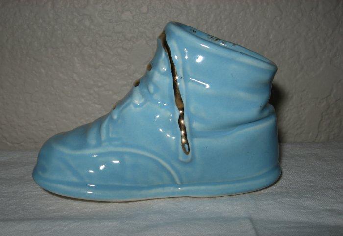 Baby Blue Ceramic Shoe w/Gold Laces.