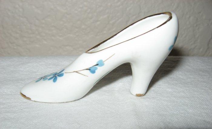 Royal Haeger White Bone China Shoe Decorated w/Blue Flowers (England).