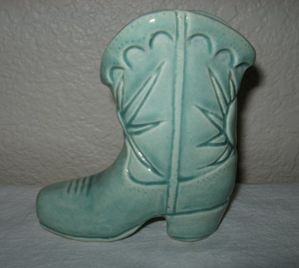 Ceramic Green Cowboy Boot.