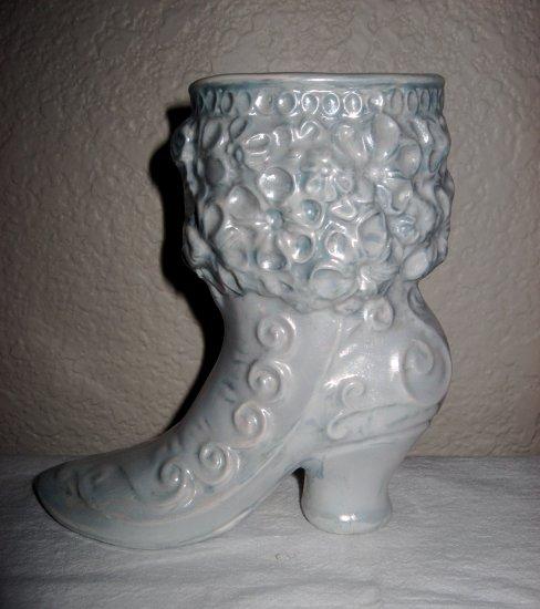 Light Blue Ceramic Boot Decorated w/Floral Design.