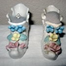 Glass Shoe Pin Cushions, with Flowers