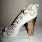 Beautifully Decorated White China Slipper w/Gold Heel.