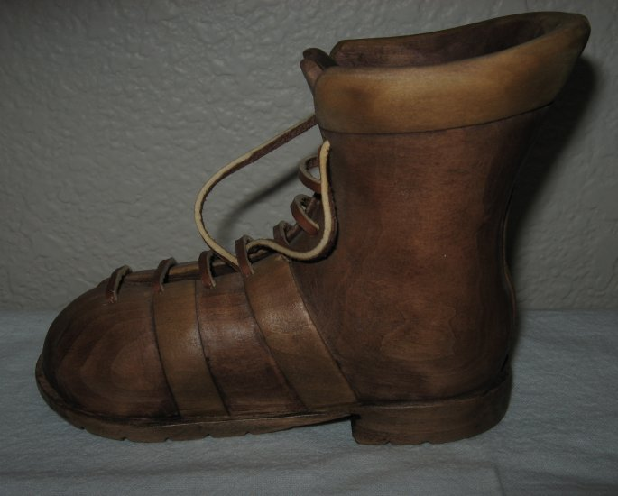 Hand Carved Wooden Boot with Leather Laces