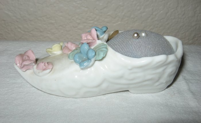 White Porcelain Shoe Pin Cushion, with Flowers