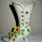 White Porcelain Hi-Top Boot w/yellow Flower and Gold Gilding.