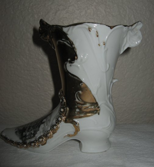 Circa 1900 Old Gorman Porcelain Boot, Trimmed in Some Gilt (Old Court House in Los Angeles).