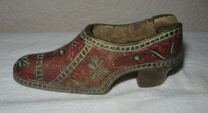 Nicely Decorated Bronze Ashtray Slipper.