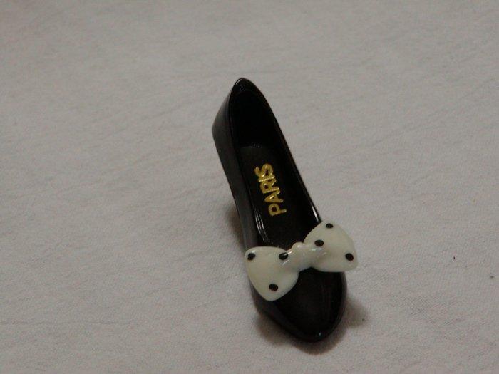 Retro Miniature Black Plastic Shoe with White Polka Dot Bow