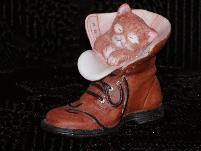 Ceramic Kitten in Man's Work Boot.