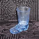 Blue Glass Boot w/Very Interesting Markings on Sole (Chipped).