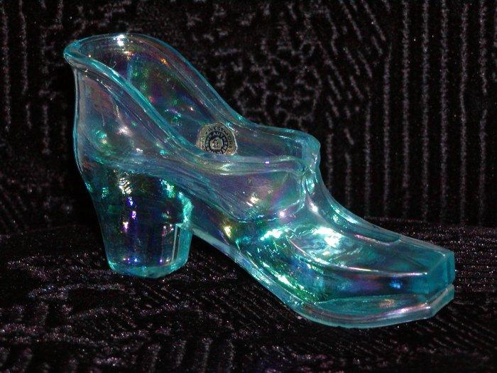 Westmoreland Aqua Iridescent Glass Shoe.