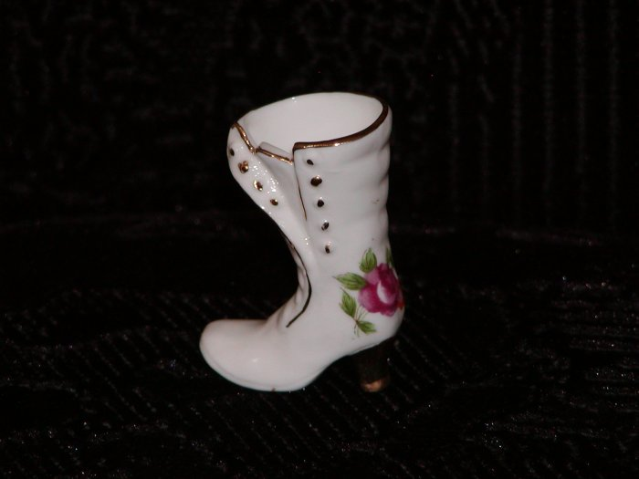White China Miniature High-Button Boot w/Rose Painted on Heel.