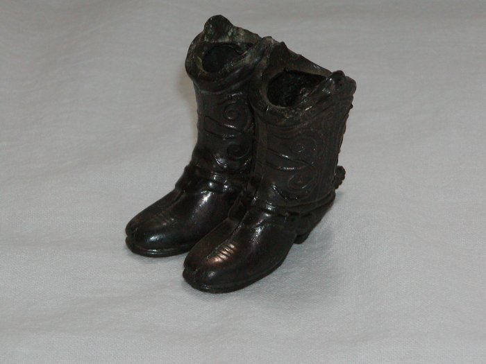 Pair of Mans Metal Boots with Spur