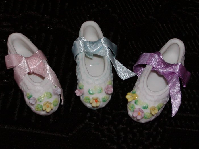 Set of 3 Small Ballerina Slippers in Pink, Blue and Lavender by Enesco 1983