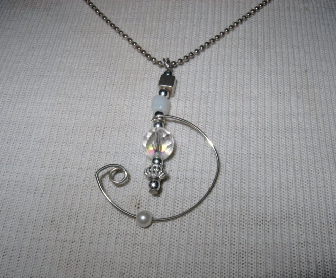 Hand Made Silver Wire Pendant with Clear Glass Bead, Necklace