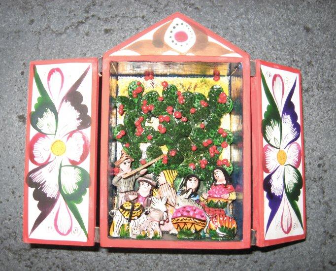 Hand Crafted Retablo Box, Family, Animals, and Apple Tree