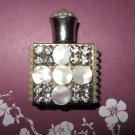 Vintage Rhinestone and Pearl Embellished Gold Perfume Bottle
