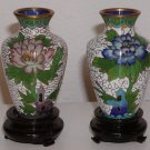 Set of Vintage Metal Small Vases, Blue, Yellow, and Pink Flower Designs