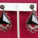 70's Silver Metal and Black Triangle Accents Screw Back Earrings