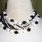 Retro Black and White Multi Strand Necklace