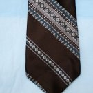 Retro Wembley Neck Tie, Brown with Blue Stripes
