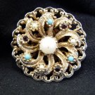 Vintage Gold and Silver Jewelry Finding, Pearl, Blue, and Red Stones