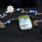 Large Blue/Green Agate, Moonstone Bead, Green Garnet, and Lampwork Beads, Necklace