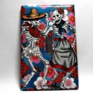 Single Switch Plate Cover, Day of the Dead Dancing Skeleton Couple with Flower Background
