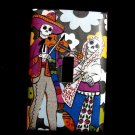 Single Switch Plate Cover, Day of the Dead Skeleton Couple Black and White Flower Background