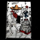 Single Switch Plate Cover, Day of the Dead Dancing Skeleton Couple with Music Note Background